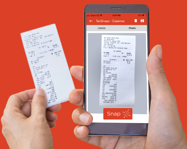 TaxSnaps mobile phone app snapping receipt